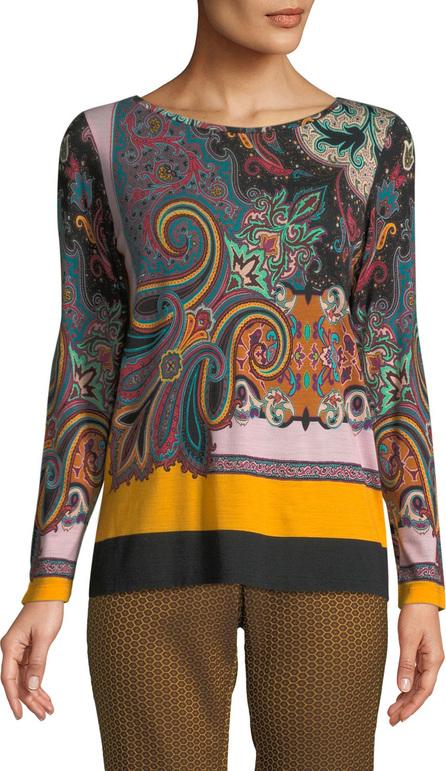 Etro Crewneck Long-Sleeve Paisley-Print Jersey Wool Sweater Top