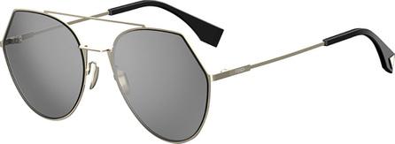 Fendi Eyeline Mitered Aviator Sunglasses