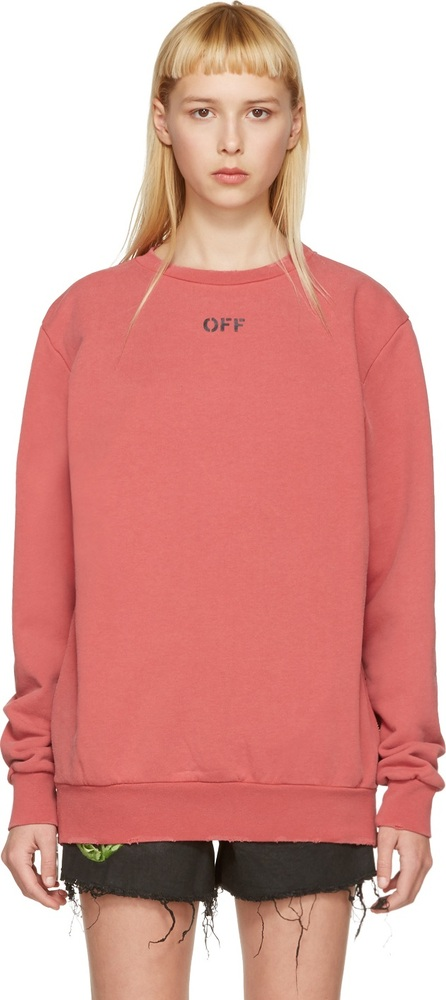 Off White Red Washed Crewneck Pullover