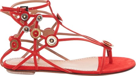 Azzedine Alaia Embellished Suede Sandals