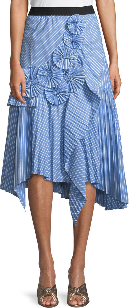 Joie Edericka Striped Pleated Applique Midi Skirt