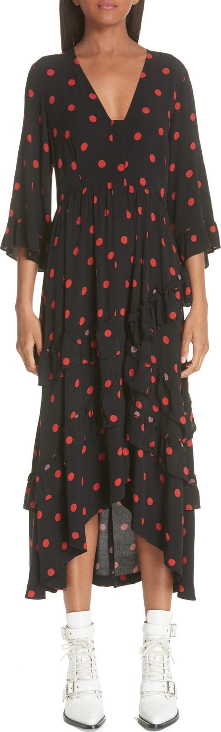 Ganni Barra Dot & Ruffle Crepe Dress