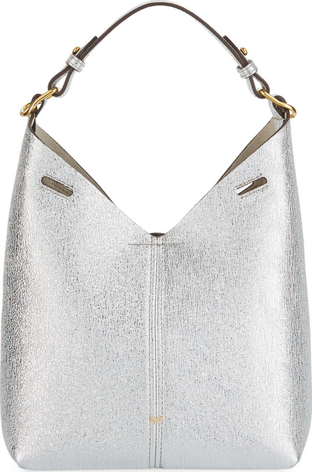 Anya Hindmarch Build A Bag Mini Crinkled Metallic Hobo Bag, Silver