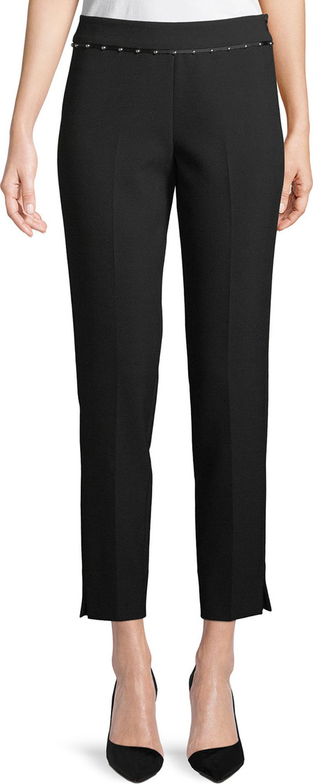 Emporio Armani Stretch-Jersey Straight-Leg Crop Pants w/ Beaded Ribbon Trim