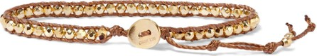 Chan Luu 18-karat gold-plated sterling silver, bead and cord bracelet