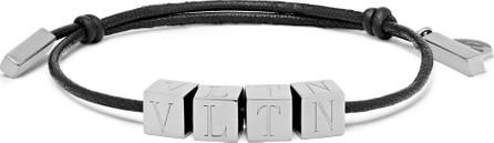 Valentino Valentino Garavani Logo-Engraved Ruthenium and Leather Bracelet