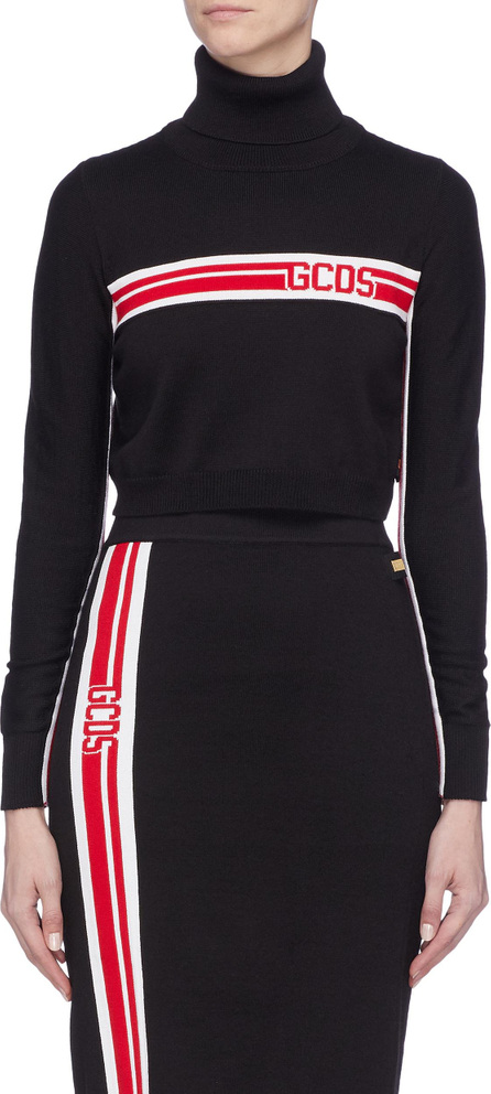 Gcds Logo stripe turtleneck sweater