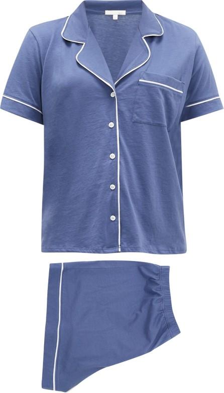 SKIN Piped notch-collar cotton pyjamas