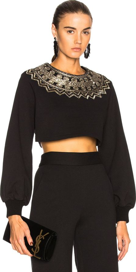 Sally Lapointe Cropped Metallic Embroidered Sweatshirt