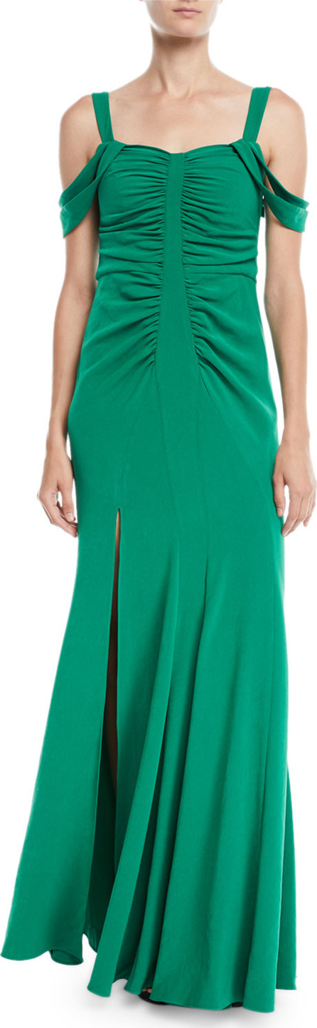 HALSTON HERITAGE Cold-Shoulder Ruched Gown