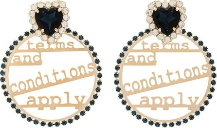 Anton Heunis Blue and metallic gold terms and conditions swarovski crystal embellished hoop earrings