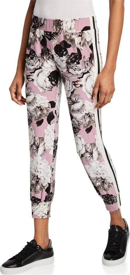 Norma Kamali Side-Stripe Floral Jogger Pants