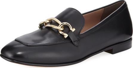 Salvatore Ferragamo Chain Leather Slip-On Flat Loafer