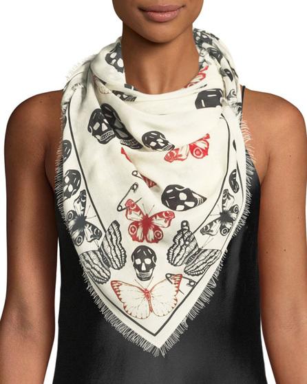 Alexander McQueen Butterfly & Skull Modal-Wool Scarf