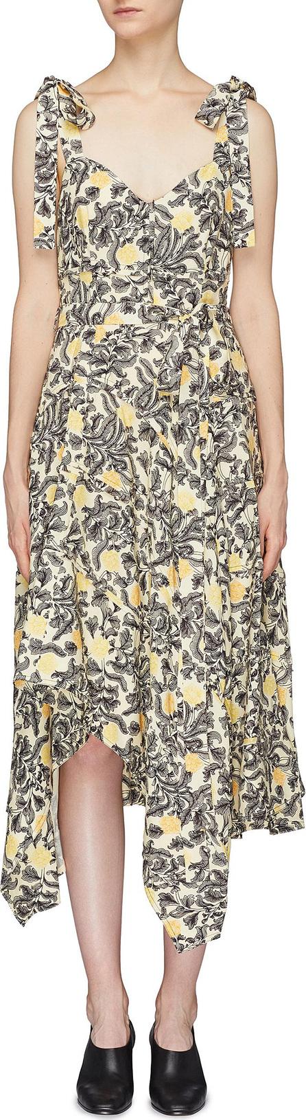 Proenza Schouler Tie strap asymmetric drape floral print camisole dress
