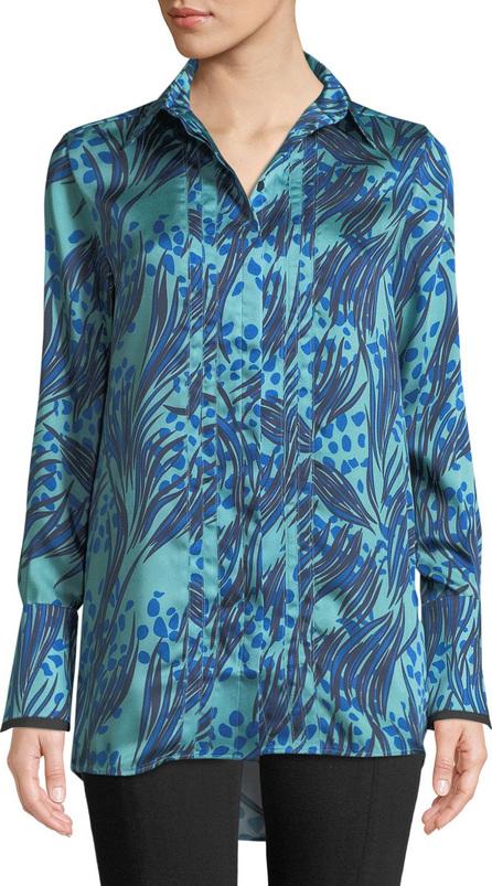 VICTORIA, VICTORIA BECKHAM Palm & Dots Print Button-Front Long-Sleeve Shirt