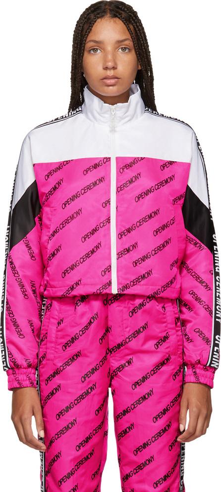 Opening Ceremony Pink & White Cropped Warm Up Jacket