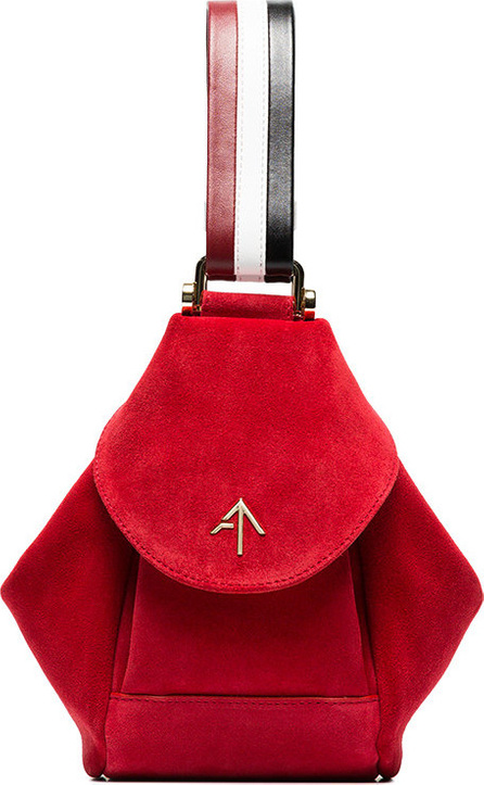 Manu Atelier Red, white and black micro fernweh suede leather bag