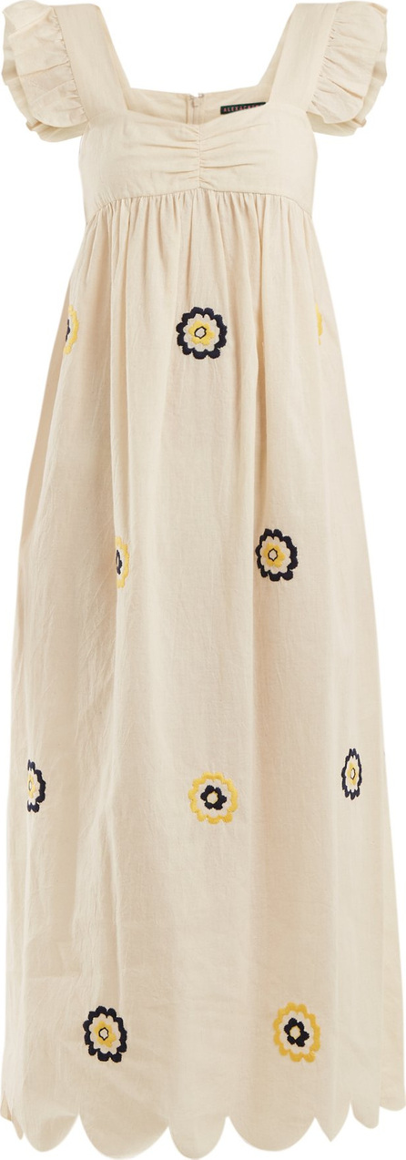 Alexachung Fifi floral-embroidered ruffle-trimmed smock dress