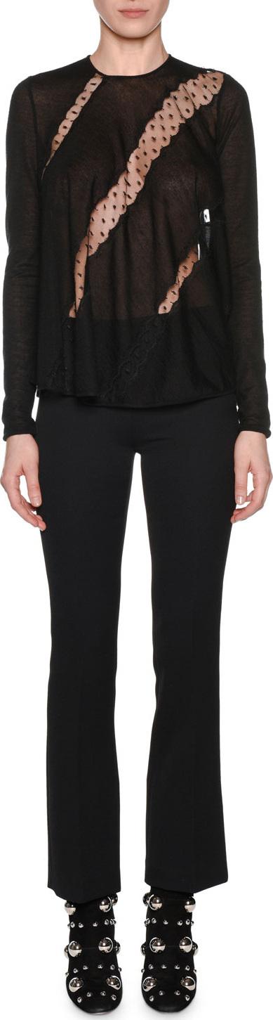 Giambattista Valli Long-Sleeve Round-Neck Lace-Insets Cashmere-Silk Sweater