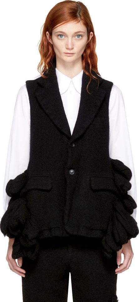 Comme Des Garcons Black Wool Bulbous Attachments Vest