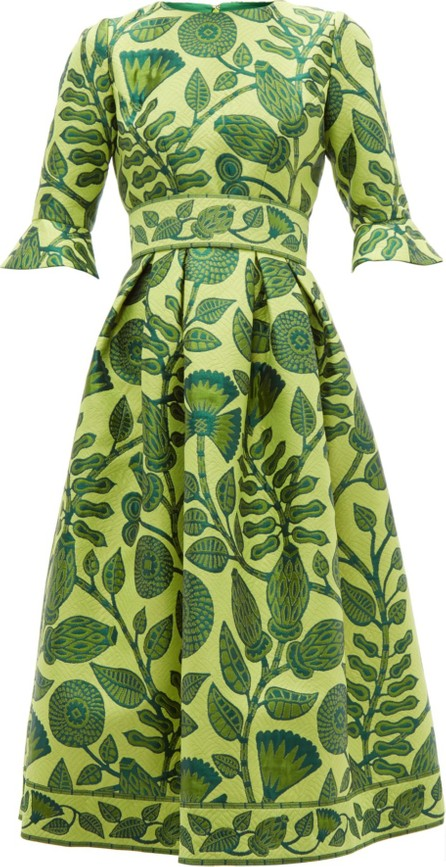 Andrew Gn Belted floral-jacquard midi dress