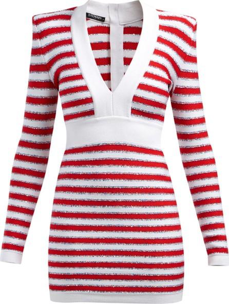 Balmain Intarsia-stripe V-neck knitted mini dress