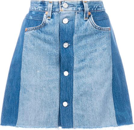 RE/DONE Panelled denim skirt