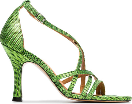 Ganni Green and black wilma 90 leather sandals
