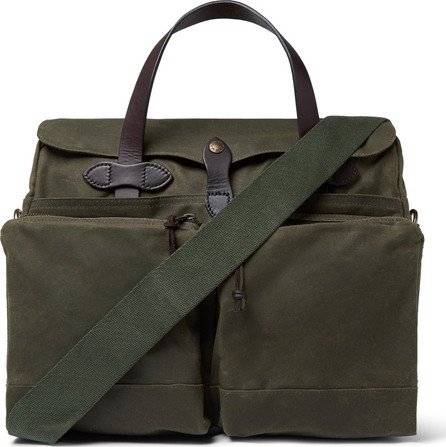 Filson 24-Hour Leather-Trimmed Coated-Canvas Briefcase