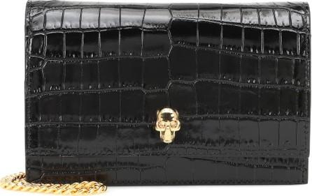Alexander McQueen Skull Mini croc-effect shoulder bag