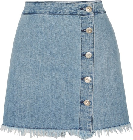 3X1 WS fringed denim mini skirt
