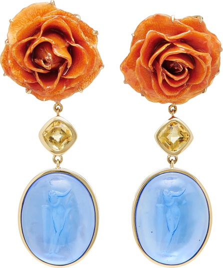 Bahina Rose and Blue Venetian Glass Earrings