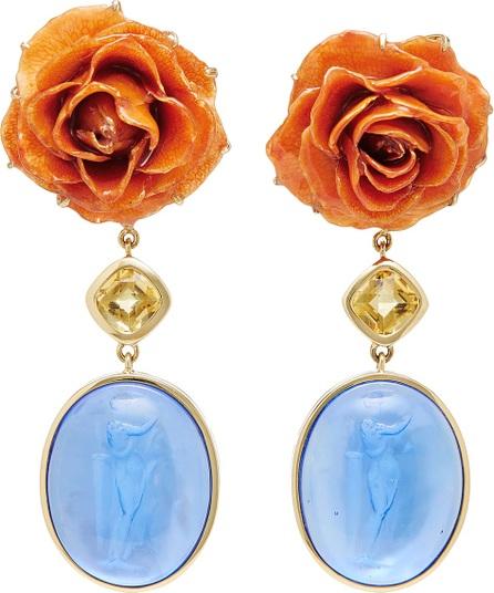 Bahina Rose and Blue Venetian Glass Earrings