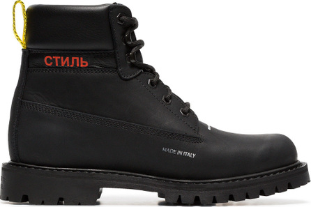 Heron Preston Black and red leather lace-up boots