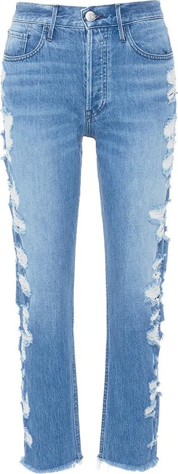 3X1 'W3 Higher Ground' selvedge distressed cropped boyfriend jeans