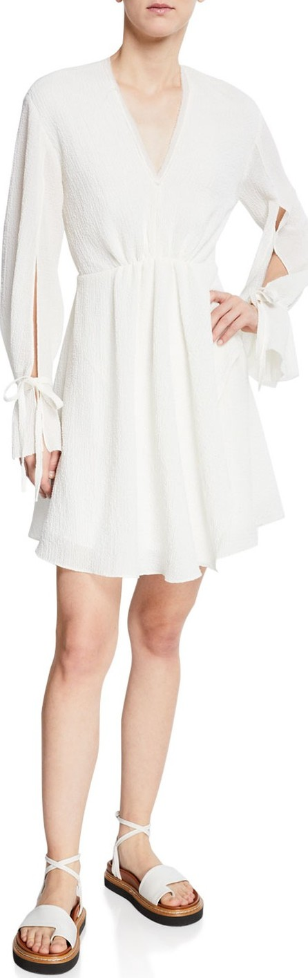 3.1 Phillip Lim Textured Tie-Sleeve V-Neck Short Dress
