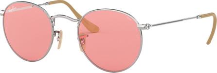 Ray Ban Round Monochromatic Metal Sunglasses, Pink