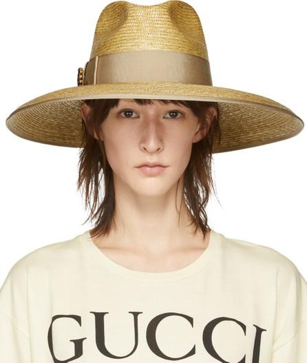 Gucci Beige GG Crystal Straw Hat