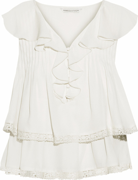 Rebecca Minkoff Everley crochet-trimmed ruffled crepe de chine blouse