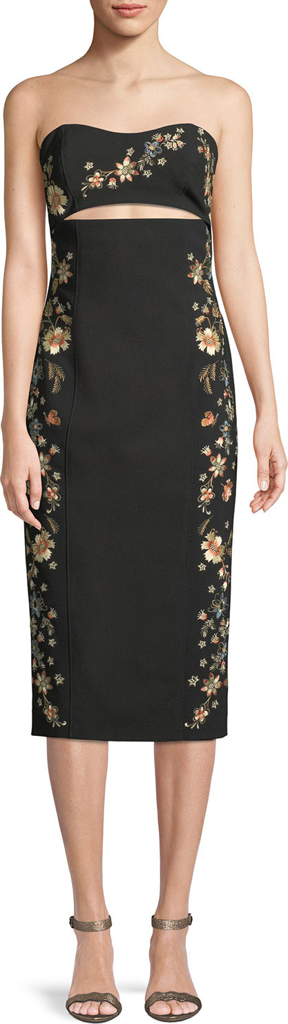Cinq A Sept - Clemence Strapless Cutout-Waist Crepe Sheath Dress
