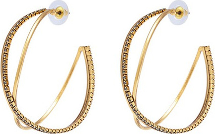 Erickson Beamon 'Breaker of Chains' Swarovski crystal intersecting hoop earrings