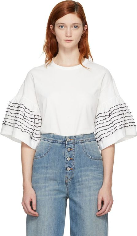 See By Chloé Off-White Ruffle Sleeve T-Shirt