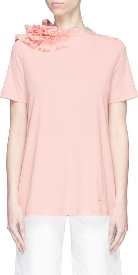Lanvin Asymmetric ruffle neck T-shirt
