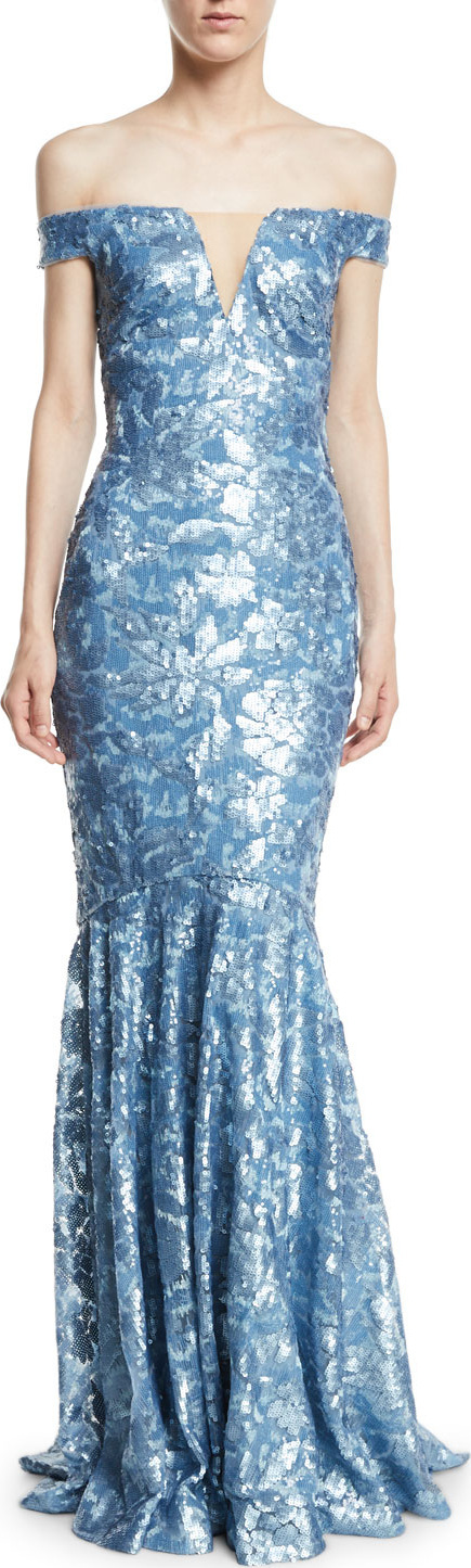 Theia Sequin Embellished Off-the-Shoulder Gown