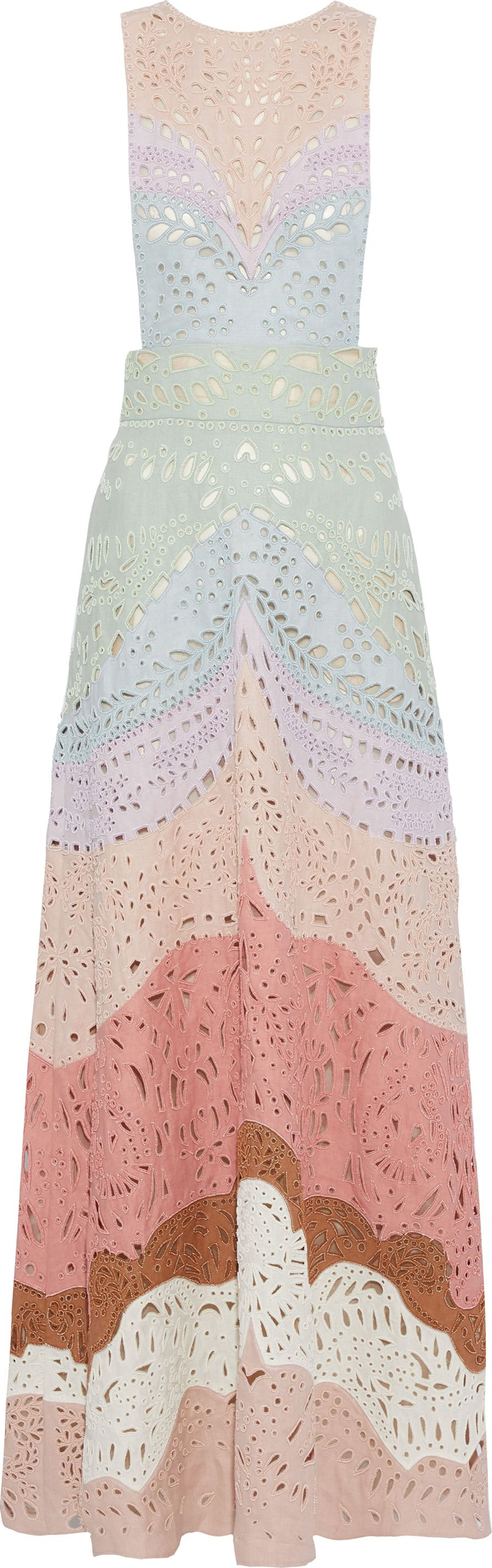 11b379c1c458 Valentino Beaded color-block broderie anglaise linen maxi dress - Mkt