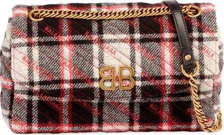 Balenciaga BB Chain Tweed Logo Wallet Shoulder Bag