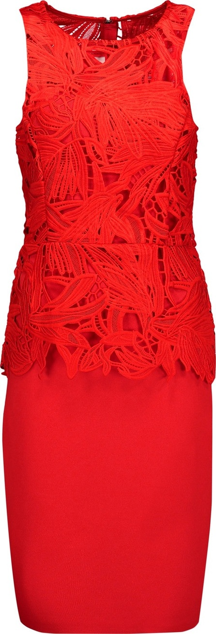 Noir Sachin & Babi Viola layered giupure lace and stretch-knit peplum dress