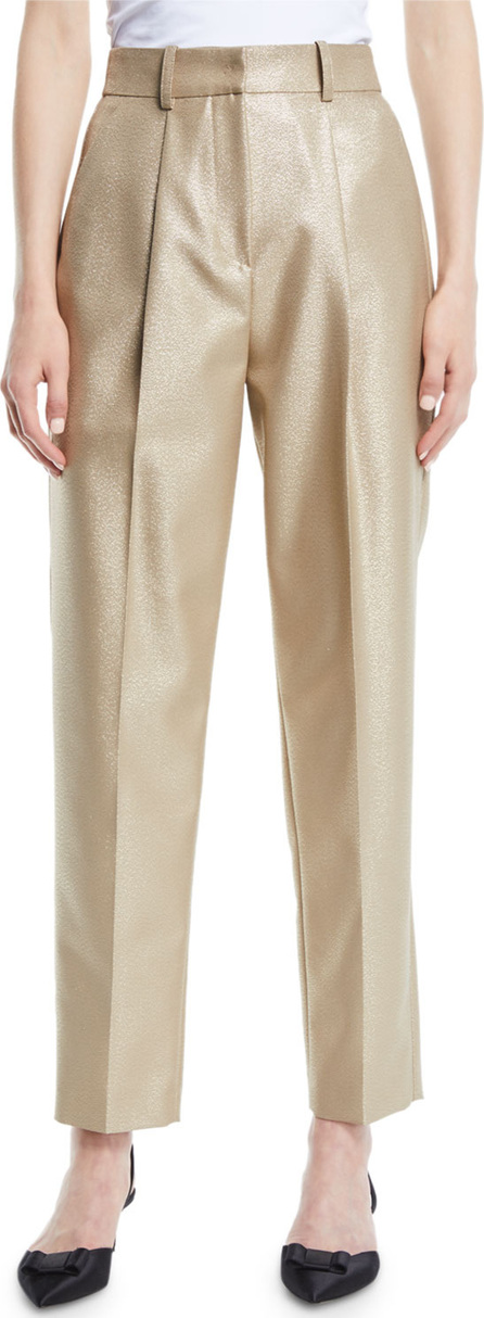 Emporio Armani High-Waist Straight-Leg Metallic-Wool Pants