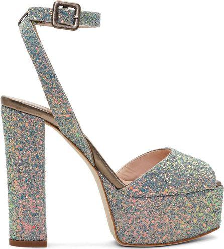 Giuseppe Zanotti Grey Glitter Lavinia Platform Sandals